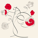 玫瑰色结构树 免版税库存图片