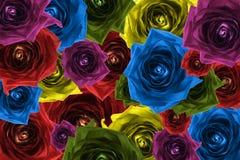 玫瑰色花彩虹背景混合拼贴画  免版税库存照片