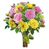 玫瑰花束与一条桃红色丝带的 免版税库存照片