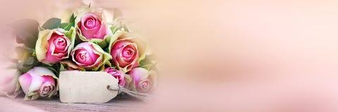 玫瑰花束与招呼的card_002的 库存照片