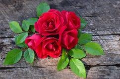 玫瑰花束在木老背景的 库存图片