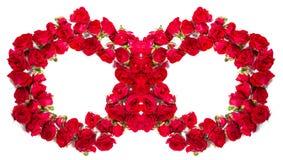 玫瑰花束被安排形成圆环或设计元素花卉题材的 库存照片