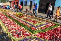 玫瑰花瓣借了地毯,安提瓜岛,危地马拉 免版税库存照片