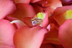 玫瑰花瓣和钻戒 免版税图库摄影
