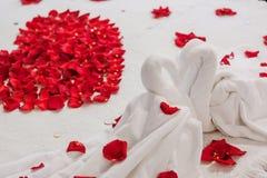 玫瑰花瓣在心脏形状被安排在她的婚礼之日 库存照片