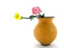 绘画玫瑰花瓶水彩 免版税库存图片