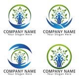 环境、生态、健康、自然与叶子和人概念商标 库存图片