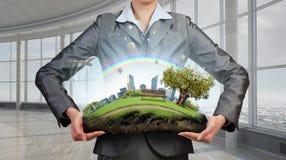 环境和现代生活的问题 混合画法 免版税库存图片