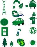 环境是绿色图标世界 免版税库存照片