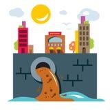 环境污染 生态 平的样式五颜六色的传染媒介 向量例证