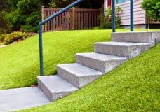 环境美化与人为草的完善的草在住宅区 库存照片