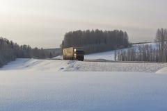 环境美化与在冬天路的一辆卡车 免版税库存图片