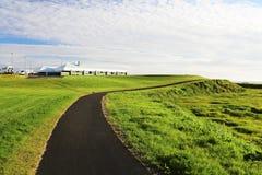 环境美化与审阅绿色草甸的黑柏油路 在背景的Beuutiful蓝天 横向风景夏天 库存图片