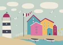 环境美化与小船、灯塔和海滩小屋 库存照片
