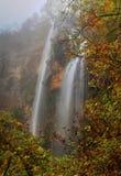 环境美化与山瀑布和五颜六色的秋天森林 免版税库存照片