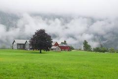环境美化与挪威农场在一个雨天 免版税库存照片