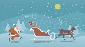 环境美化与教会和大厦和圣诞老人雪橇和驯鹿,传染媒介凹道的圣诞老人例证 免版税库存照片