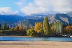 环境美化与湖山和树与美好的天气 免版税图库摄影