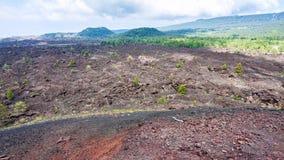 环境美化与Etna老火山口倾斜  免版税库存图片