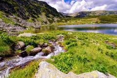 环境美化与Fagaras高地的一个冰河湖  库存照片