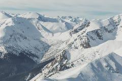 环境美化在多雪的山在清楚的晴天 背景蓝色云彩调遣草绿色本质天空空白小束 免版税库存照片