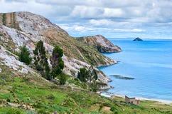 环境美化在太阳的海岛上在Titicaca湖的 流星锤 免版税库存照片