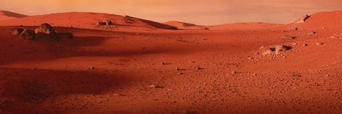 环境美化在行星火星,红色行星的风景沙漠 免版税库存图片