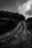环境美化本质上美丽的满月的与一条泥泞的路thr的 免版税库存照片