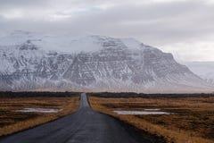 环境美化的乡下公路,被开放的高速公路路在冰岛 库存图片