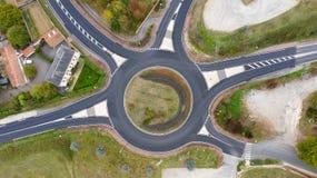环形交通枢纽的鸟瞰图在罗舍塞尔维埃 免版税图库摄影