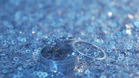 环形玫瑰色婚礼 首饰和圆环 免版税库存照片