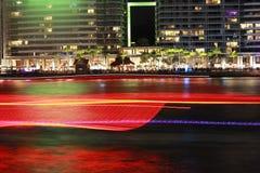 环形码头在晚上 免版税库存照片