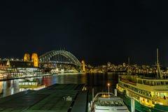 环形码头悉尼澳大利亚在晚上 库存图片