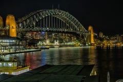 环形码头悉尼澳大利亚在晚上 库存照片