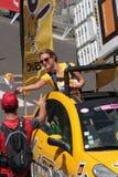 从环法自行车赛有蓬卡车的礼物  免版税图库摄影