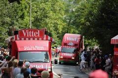 环法自行车赛的广告有蓬卡车2013年 免版税库存图片