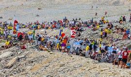 环法自行车赛观众在Mont Ventoux的 免版税库存照片
