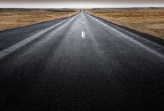 环行路,冰岛-长的直路低看法横跨青苔隐蔽的熔岩的 免版税库存照片