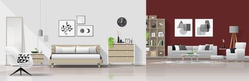 现代与卧室和客厅组合的房子内部背景 向量例证