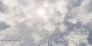 现代与天空和太阳的企业摩天大楼高层建筑物 图库摄影