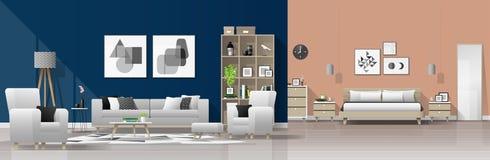 现代与客厅和卧室组合的房子内部背景 皇族释放例证