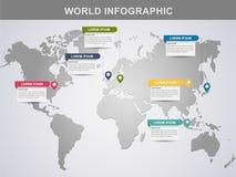 现代世界信息图形设计元素横幅 库存照片