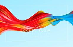 现代五颜六色的流程海报 波浪液体形状在颜色背景中 您的设计项目的艺术设计 向量 皇族释放例证
