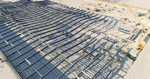 现代仓库建造场所,一个新的商业大厦的结构钢结构, a的建筑 影视素材