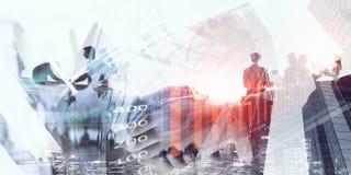 现代企业生活方式 混合画法 免版税库存照片