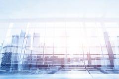 现代企业背景,玻璃墙在办公室或机场 免版税库存照片