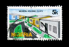 现代住宅、文化、自然和经济serie,大约1986年 库存照片