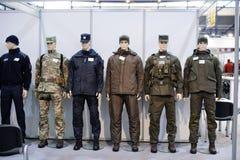 现代作战军用设备和武器展示了在陈列 库存图片