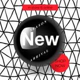 现代促进正方形网横幅新的到来,社会媒介机动性apps的 网上购物的典雅的电视节目预告横幅 免版税库存照片