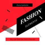现代促进正方形网横幅时尚元素,社会媒介机动性apps的 在网上的典雅的电视节目预告横幅 库存照片